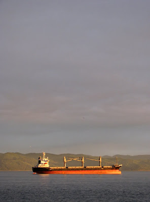 Glowing Orange Ship on the Columbia River, Astoria, Oregon