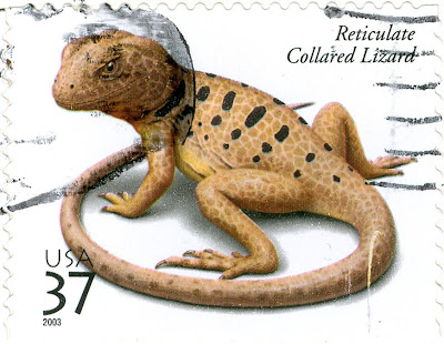 Reticulate Collared Lizard on a US Postage Stamp, 2003