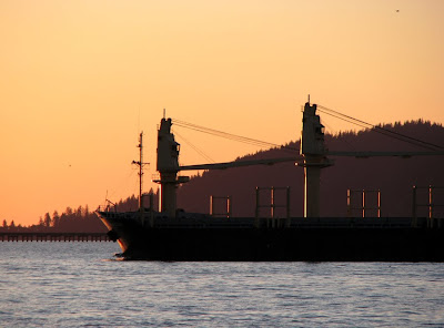 Ship in Sunset, Astoria, Oregon