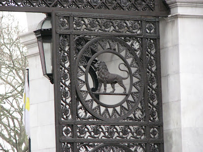 A Lion in the Gate of Marble Arch, London