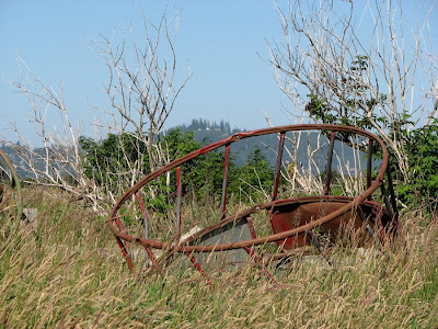 The Astoria Column from SE 12th Place - Old Metal Farm Equipment