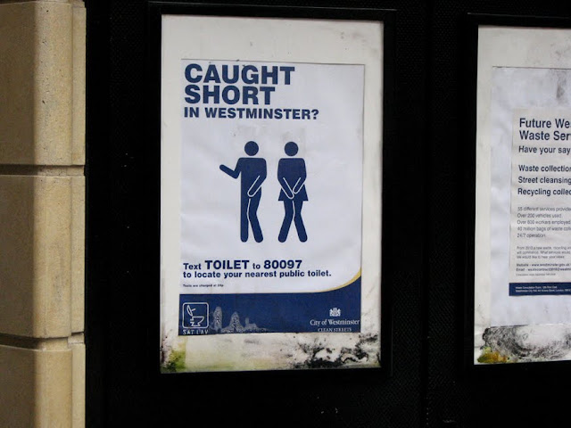 Sign on a public toilet, London