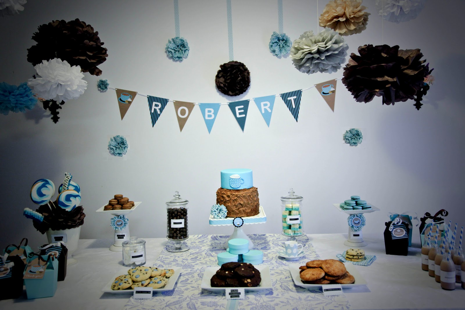 Bubble and sweet cookie and babychino 2nd birthday party for Baby boy birthday party decoration