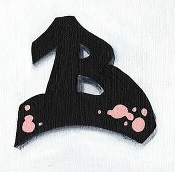 GRAFFITI LETTER B WITH BLACK COLOR, B BLACK, Mural Bubble,Sweet pink Fonts, Yellow