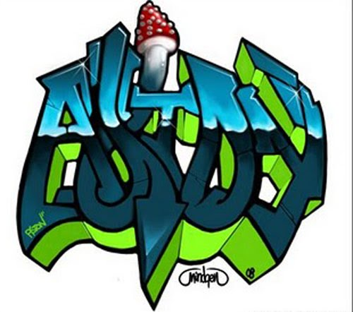 BUBBLE LETTERS GRAFFITI ALPHABET STYLE FULL A COOL COLOR