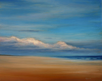 Beach clouds oil painting art by Kerri Settle