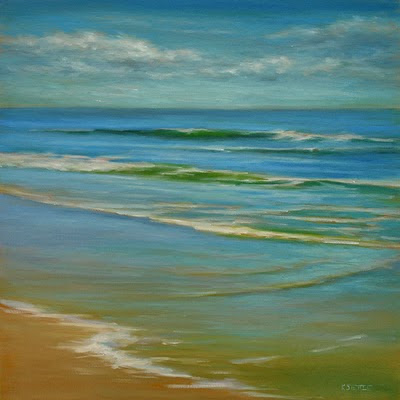 Ocean waves oil painting art by Kerri Settle