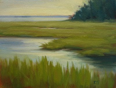 Bogue Sound Marsh in North Carolina oil painting by Kerri Settle