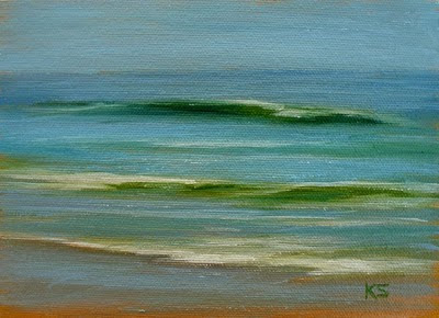 Ocean waves oil painting by Kerri Settle