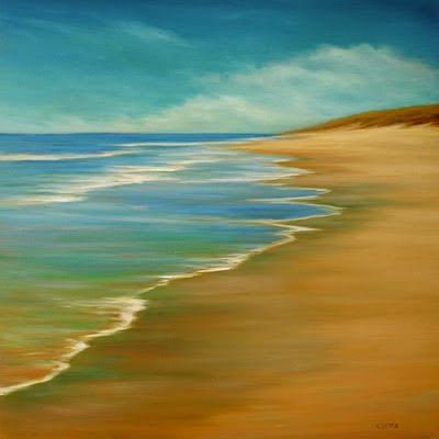 Beach tide oil painting by Kerri Settle