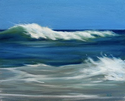 Crashing ocean waves oil painting