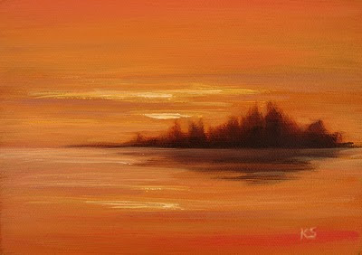 Orange Lake Sunset Oil Painting by Kerri Settle