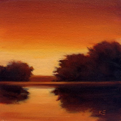 Sunset Lake oil painting by Kerri Settle