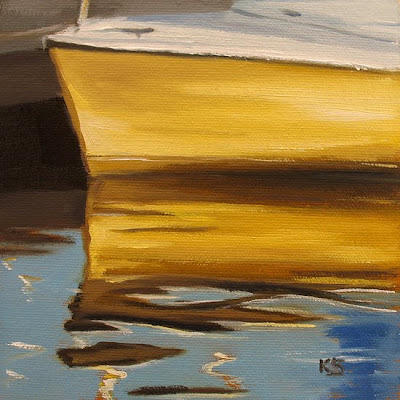 Yellow Sailboat Reflections Oil Painting by Kerri Settle