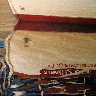 Red and White Boat Reflections Oil Painting by Kerri Settle