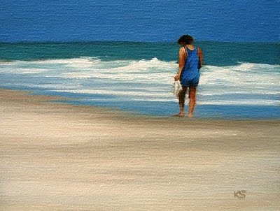 Woman Walking Outer Banks Beach Oil Painting by Kerri Settle