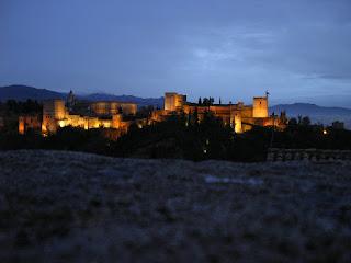 Obiective turistice Andaluzia: Alhambra Granada noaptea