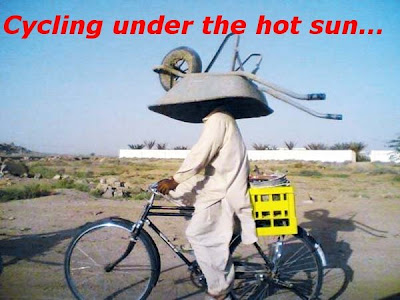 Funny Pictures: Funny cycling under the hot sun