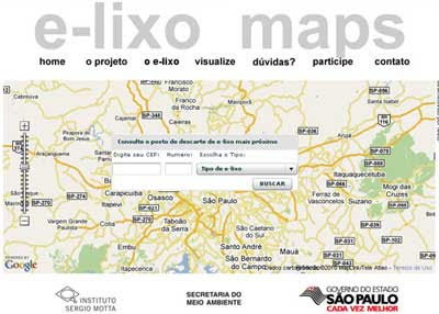 Interface do E-lixo Maps