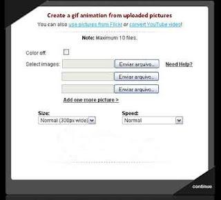 Interface do gifcreador online