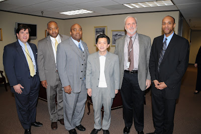 Congressman Joseph Cao (third from right) and his District Director Murray Nelson (left) met with senior FEMA and state officials (left to right) Joe Threat, Louisiana Recovery Office acting executive director, Tony Russell, FEMA Region 6 administrator, Mark DeBosier, Governor's Office of Homeland Security and Emergency Preparedness assistant deputy director for disaster recovery, and Andre Cadogan, LRO deputy director of programs.