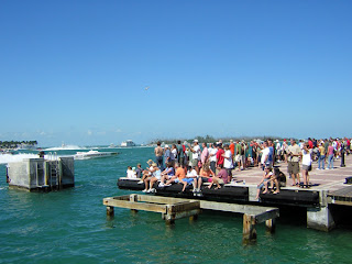 Spectators watching the powerboat races from Mallory Square in Key West.