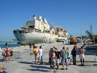 People watching the arrival of the USS Vandenberg in Key West
