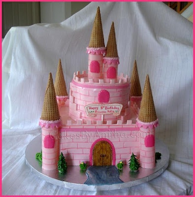 Easy Castle Cakes for Girls http://cakesbyanitha.blogspot.com/2008/09/pink-princess-castle.html