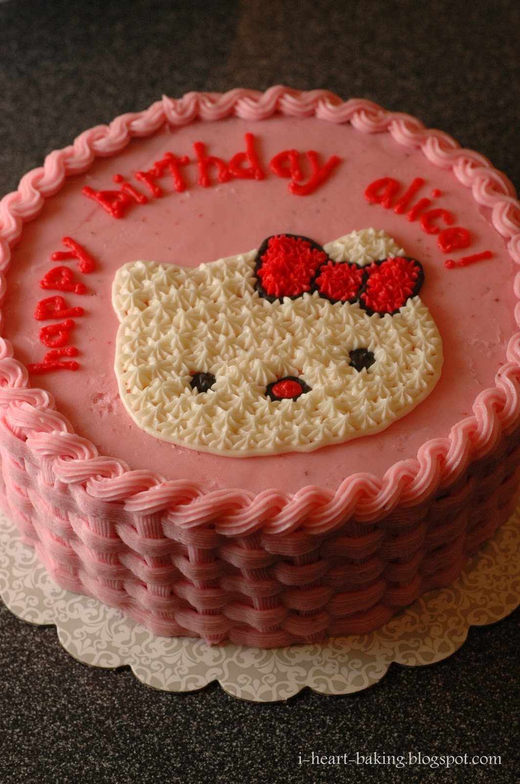 i heart baking pink hello kitty cake