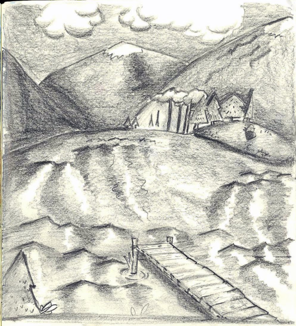 Docks background pencil drawing