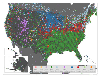 Floatingsheep Mapping Christianity - Southern baptist in us map