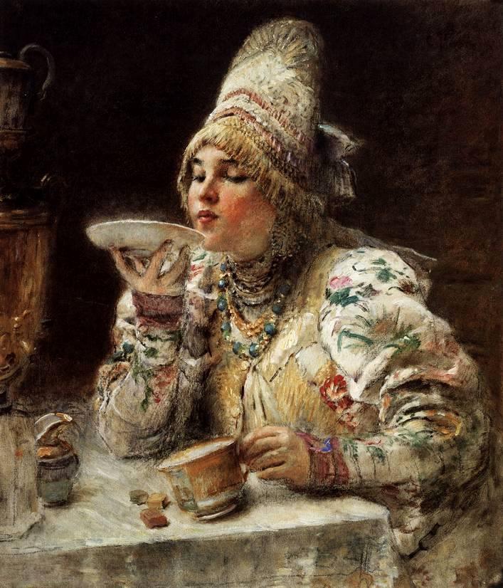 Константин маковский за чаем 1914 год