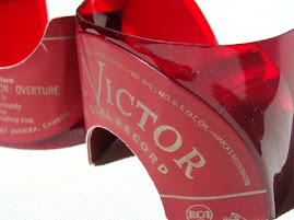 Men's Red Vinyl Roman Record Cuffs - Set of 2 - Made from vintage 45 rpm RCA VICTOR Record