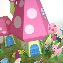 Gnome Mushroom Cottage Paper Playset PDF