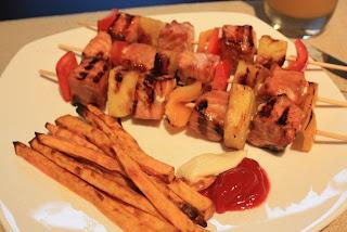 Deelish: Teriyaki Salmon Kabobs and Sweet Potato Fries