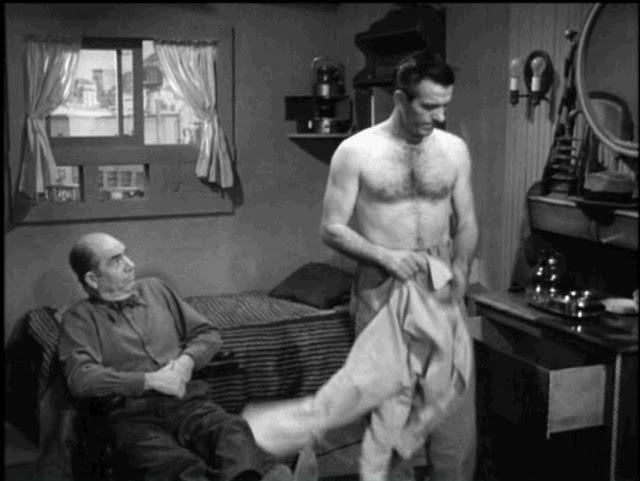 Hugh Beaumont shirtless in noir drama