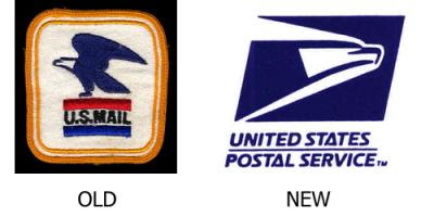 United States Postal service logo Before and After