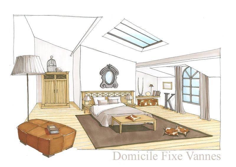 Architecte d 39 int rieur vannes morbihan bretagne df for Dessin chambre en perspective
