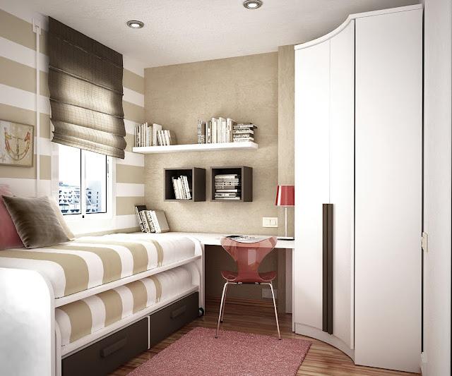 brown kids room space saving ideas