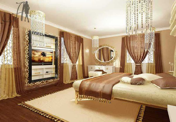 Interior and exterior design luxury and glamour bedroom design in art deco style - Luxury bedroom design ...