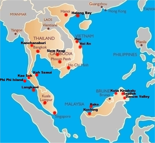 ... Starting Point For Someone Looking To Travel Around South East Asia And  See The Most Popular Cities. Below Is A Map Of The Region,for Your  Reference.