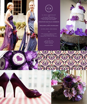 And here is Julia 39s regal purple wedding bridesmaids invitation cake