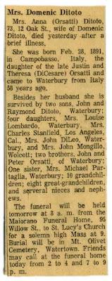 Anna Orsatti Ditoto - Obituary