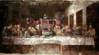 Optimus Prime as Jesus in The Last Supper