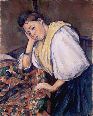 La  FEMME  dans  l' ART - Page 22 Paul+Cezanne,+Young+Italian+Woman+at+a+Table+,+getty+museum
