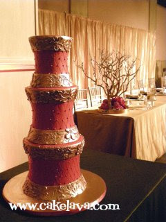 Red And Gold Wedding Cakes
