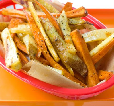 Savory Trio Boardwalk Fries: Yam. Yucca. White.