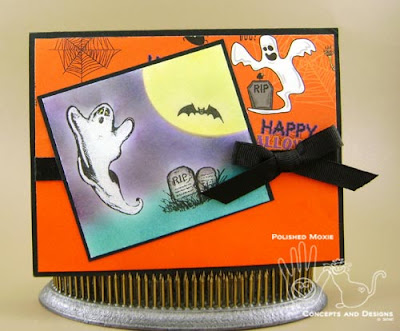 Picture of the front of the cute little cemetery Halloween card