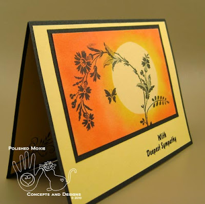 Picture of the sympathy card set at an angle so that you can see the dimension on the front of the card