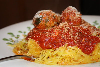 Spaghetti Squash and Turkey and Spinach Meatballs
